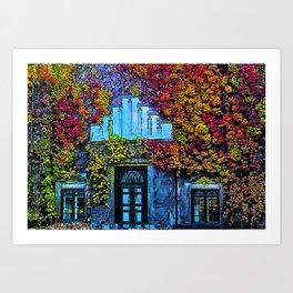 Denmark in Autumn Leaves, university building Art Print