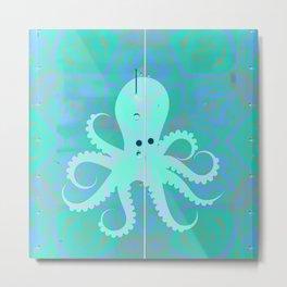 Seafoam Green Sea Green Vintage Pop Art Octopus Graffiti Metal Print