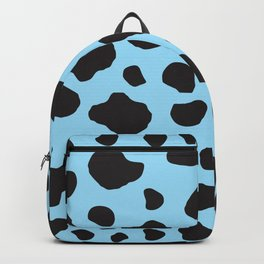 Animal Print (Cow Print), Cow Spots - Blue Black Backpack