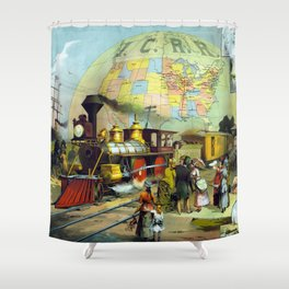 Vintage Transcontinental Railroad Shower Curtain