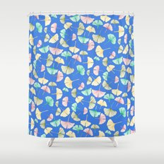 Gingko Leaves on Cobalt Shower Curtain