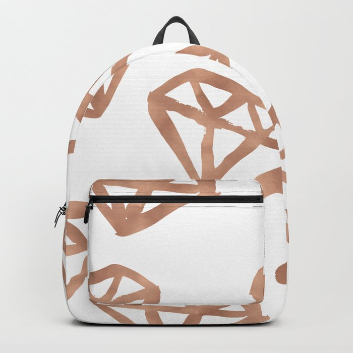 Rose gold diamond print Backpack