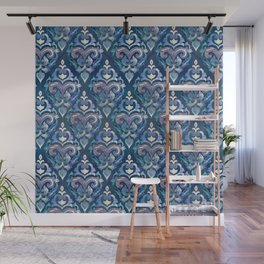 Persian Floral pattern blue and silver Wall Mural