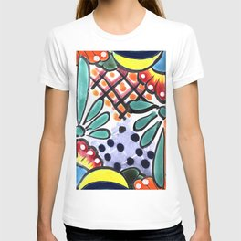 Colorful Talavera, Yellow Accent, Mexican Tile Design T-shirt