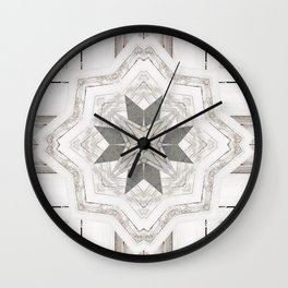 Country Cottage Distressed Wood Mandala Design Wall Clock