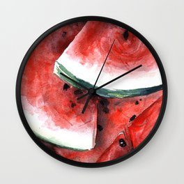 Juicy Watermelon in Watercolor- Food Art Wall Clock