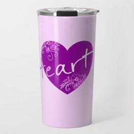 Dark violet HEART - Typo Travel Mug