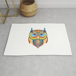 colorful owl silhouette Rug