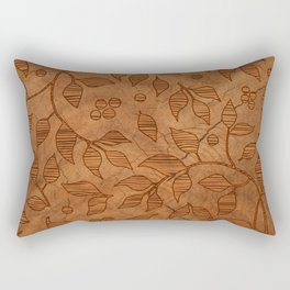 Brown Wood Carved Leafs Pattern Rectangular Pillow
