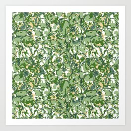 Flower Camuflage green Abstract Art Print