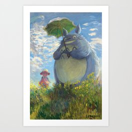 With a Parasol Art Print