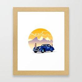 Blue retro car on a mountain landscape Framed Art Print