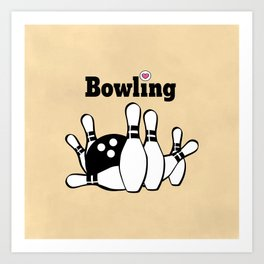Love Bowling Illustration Art Print
