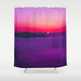 purple sunset in Fira Santorini Shower Curtain