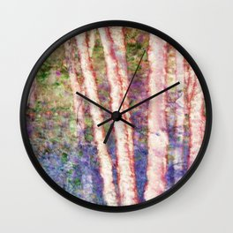 Pastel Birch Trees by a Forest Stream Wall Clock
