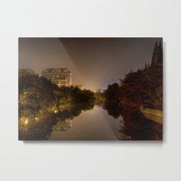 A night river in a city (Nantong, China) (2014-10NN7) Metal Print