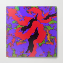 Meander red Metal Print