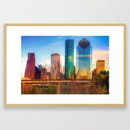 Houston Texas Skyline at Sunset Framed Art Print