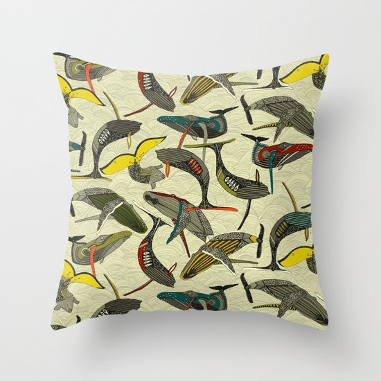 whales and waves bold Throw Pillow