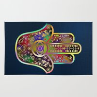 hamsa Area & Throw Rugs featuring Hamsa 4 by Klara Acel