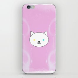 Nova - Kawaii White Cat Blue Yellow Eyes iPhone Skin