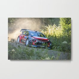 Rally car - Speed in nature Metal Print