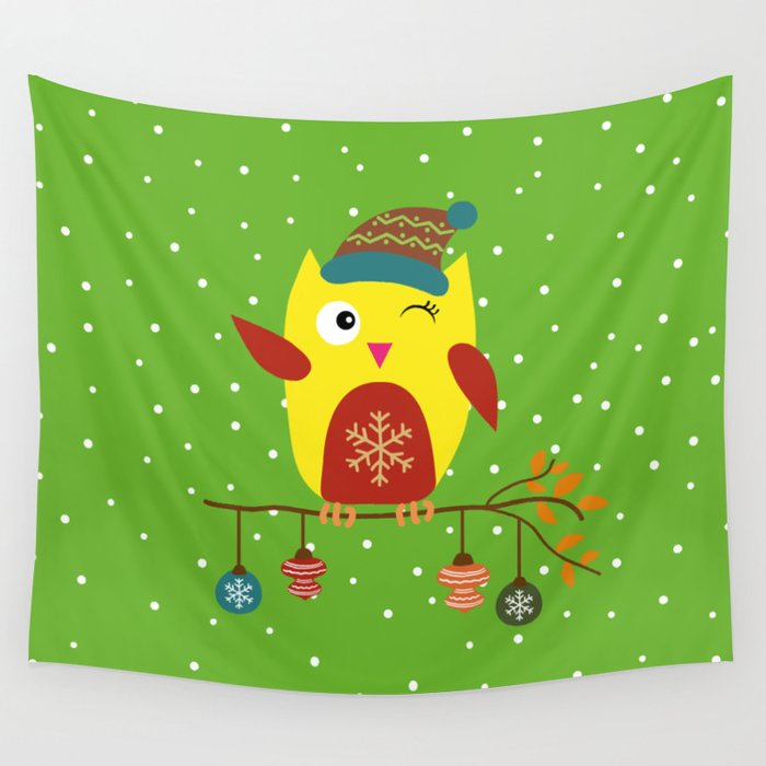 Cute Owl sitting on a branch with christmas baubles, Winter, X-mas Design Wall Tapestry