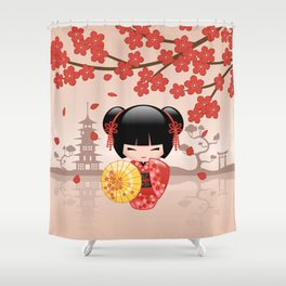 Japanese Red Sakura Kokeshi Doll Shower Curtain