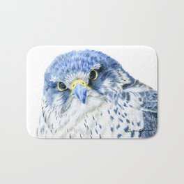 """""""Here's Looking At You"""" painting of a Gyrfalcon by Teresa Thompson Bath Mat"""
