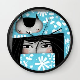 WINTER CAT HAT Wall Clock