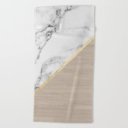 Modern white marble gold stripe wood color block Beach Towel