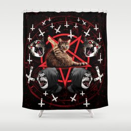 satanic cat pentagram death black metal band exorcist Shower Curtain