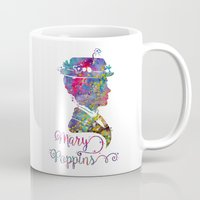 mary poppins Mugs featuring Mary Poppins Portrait Silhouette by Bitter Moon