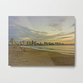 People in the Beach at Sunset Metal Print