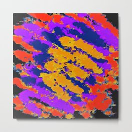 psychedelic splash painting abstract texture in red purple blue yellow Metal Print