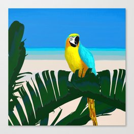Parrot Tropical Banana Leaves Design Canvas Print