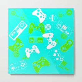 Video Games green on light blue Metal Print