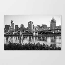Black and White Cincinnati Skyline View Canvas Print