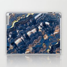 Blue marble with Golden streaks Laptop & iPad Skin