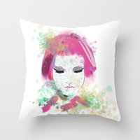 water colour Throw Pillows featuring water colour lady by rebeccalbe