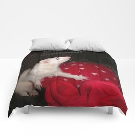 The Ivory Ferret and the Starry Red Bouncy House Comforters