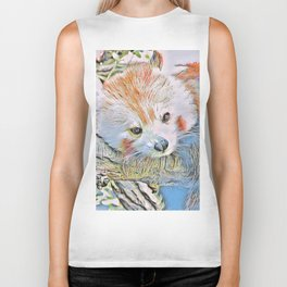 Watercolors - Red Panda 2 Biker Tank