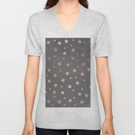 Rose gold Christmas stars geometric pattern grey graphite industrial cement concrete Unisex V-Neck