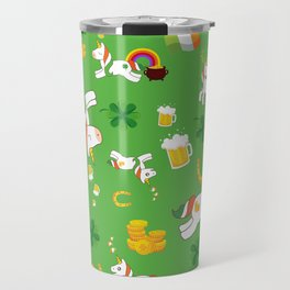 St. Patrick's Day Unicorn Pattern Travel Mug