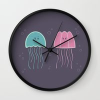 jellyfish Wall Clocks featuring Jellyfish by Teo Zirinis