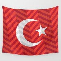 turkey Wall Tapestries featuring Turkey Flag by m. arief (mochawalk)