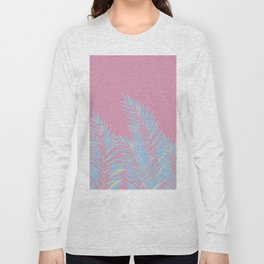 Palm Leaves Blue And Pink Long Sleeve T-shirt
