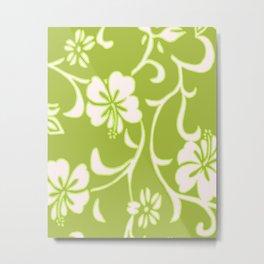 Y2K Surfer Flowery Pattern Green Metal Print