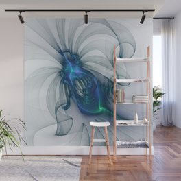 Abstract Art With Blue Fractal Art Wall Mural