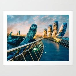 Giant Stone Hands, Golden Bridge, Vietnam Art Print